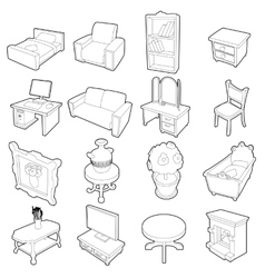 Different furniture icons set outline style vector image