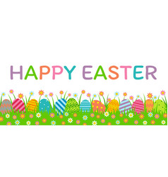 easter eggs with grass vector image