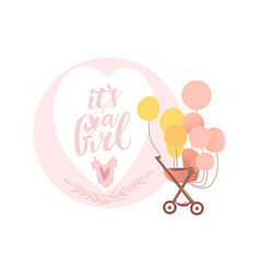 flat baby stroller with air balloon vector image