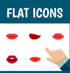Flat icon lips set of teeth lips pomade and vector