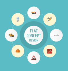 flat icons caution pneumatic hardhat and other vector image
