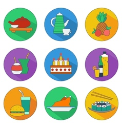 Flat icons food and drinks vector