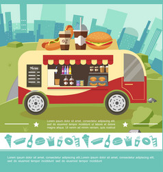 flat street food colorful template vector image