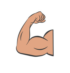 Flexing bicep muscle strength or arm vector