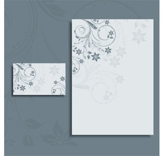 floral letterhead and business card vector image vector image