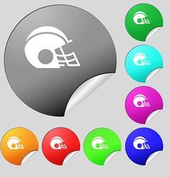 Football helmet icon sign Set of eight multi vector