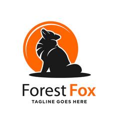 Fox and circle logo design template vector
