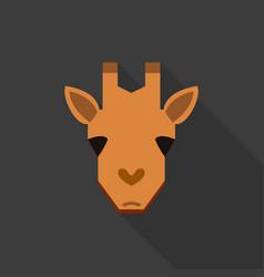 giraffe face flat style icon logo vector image