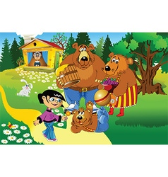 Girl and the three bears vector