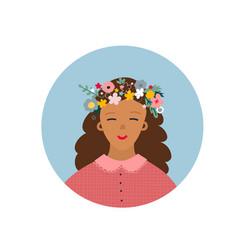 Girl flower wreath circle sticker vector