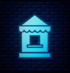 Glowing neon ticket box office icon isolated on vector