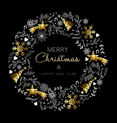 Gold christmas and new year wreath decoration vector