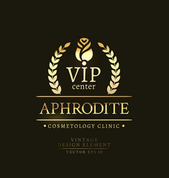 gold retro badge of the vip center vector image