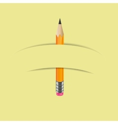 Graphite pencil with paper banner vector