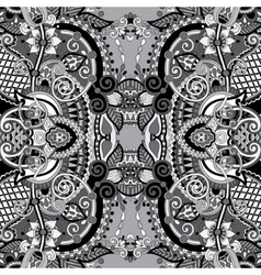 Grey authentic seamless floral geometric pattern vector