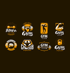 Gym fitness logo or label sport bodybuilding vector