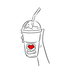 hand holding cold takeaway coffee with red heart vector image