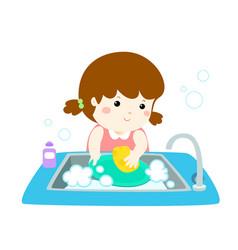 happy girl washing dish on white background vector image