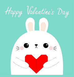 Happy valentines day white rabbit hare puppy head vector