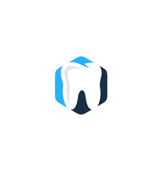 Hexagon dental logo icon design vector