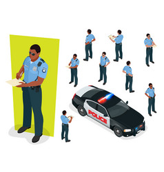 Isometric police-officer in uniform and police car vector