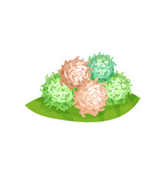 klepon or sweet glutinous rice balls with palm vector image