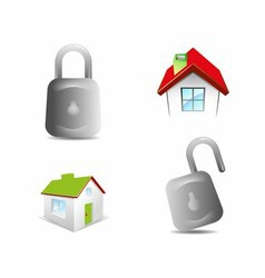 Lock and house icon vector