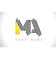 ma black lines letter logo creative line letters vector image