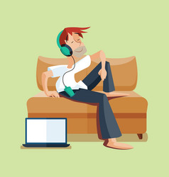 man resting on sofa with music vector image