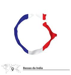 Map of bassas da india with flag vector