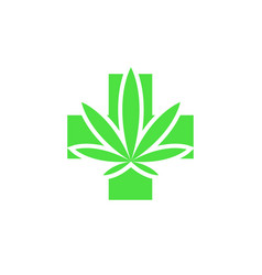 Medical marijuana leaf and cross logo green vector