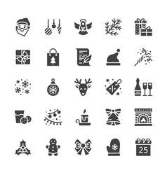 merry christmas flat glyph icons fir branch vector image