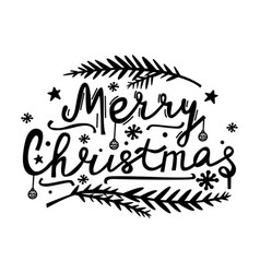 merry christmas hand lettering doodle style vector image