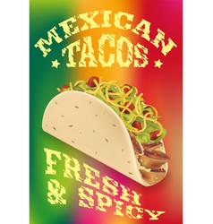 Mexican tacos realistic poster design vector