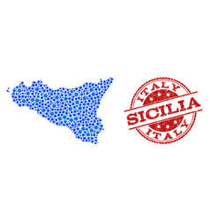 Mosaic map of sicilia island with connected points vector