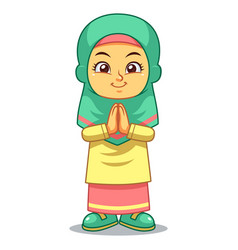 Moslem girl greeting vector