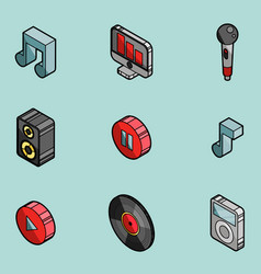 music color outline isometric icons vector image vector image