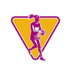 Netball player ready to pass ball vector