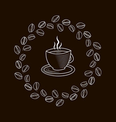 Outline cup coffee in a frame coffee beans vector