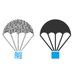 Parachute mosaic of binary digits vector