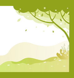 park with trees and green grass bushes in spring vector image