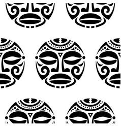 polynesian maori face seamless pattern vector image
