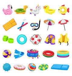 Pool equipment icons set cartoon style vector