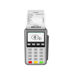 pos terminal machine for payment nfc pay vector image