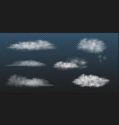 Realistic white clouds set collection vector