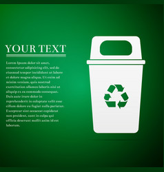 Recycle bin flat icon on green background vector