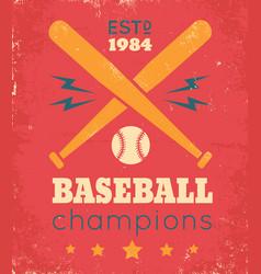 Retro poster for baseball vector