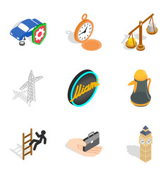 Road rules icons set isometric style vector