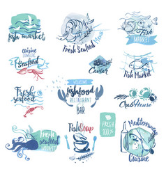 Seafood hand drawn watercolor labels and elements vector