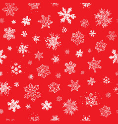 seamless christmas pattern with snowflakes on red vector image